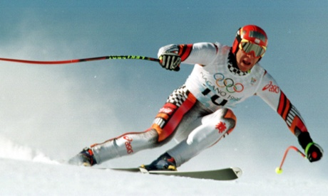 Austria's Hermann Maier in action at the 1998 Games in Japan where he suffered a catastrophic wipeout before returning to win gold.