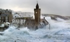 The sea rages as it thrashes the coast at Porthleven, Cornwall.