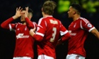 Nottingham Forest's Jamie Mackie celebrates the opening goal against Preston North End.