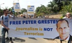 Foreign journalists march on the Egyptian embassy in Nairobi on Tuesday in support of Peter Greste