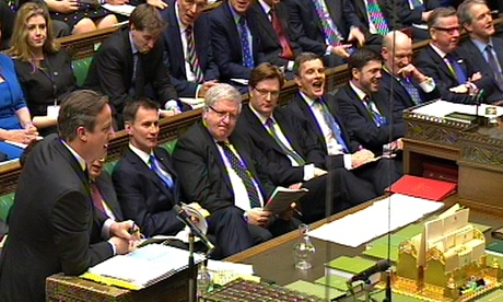 Prime Minister's Questions all male front bench