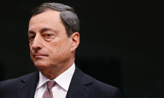 European Central Bank (ECB) President Mario Draghi waits for the start of an eurozone finance ministers meeting at the EU Council in Brussels January 27, 2014.
