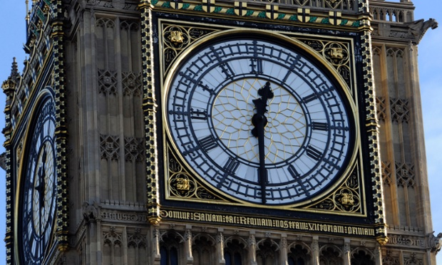 A close up of the clock face of Elizabeth Tower (aka Big Ben) at the Houses of Parliament.