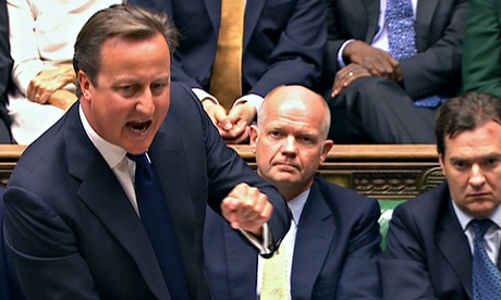 Prime minister David Cameron addresses the Commons during a debate on military action against Syria