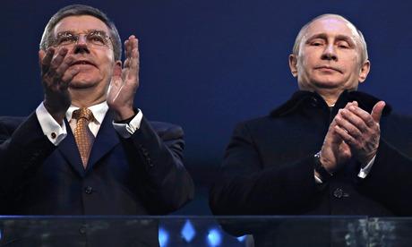 IOC president Bach and Vladimir Putin