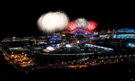 Fireworks are seen over the Olympic Park during the opening ceremony of the Sochi 2014 Winter Olympics.