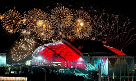 Fireworks go off over the Fisht Olympic Stadium at the Opening Ceremony of the Sochi 2014 Olympic Games.