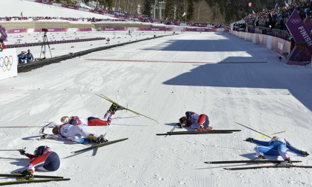 The women's cross-country skiathlon finish line.