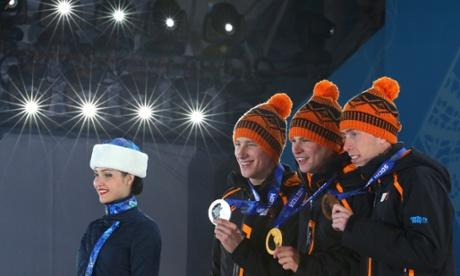 Men's 5,000m speed skating silver medalist Jan Blokhuijsen, gold medalist Sven Kramer and bronze medalist Jorrit Bergsma show off their medals.
