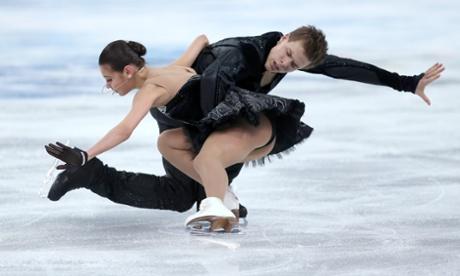 Elena Ilinykh and Nikita Katsalapov of Russia compete in the Team Ice Dance Free Dance at the Sochi 2014 Winter Olympics.