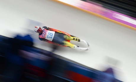Felix Loch of Germany in action during the men's singles Luge at the Sochi 2014 Olympic Games.
