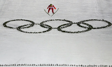 Poland's Kamil Stoch soars through the air in the first round of the men's ski jumping normal hill individual final at the Sochi 2014 Winter Olympic Games.