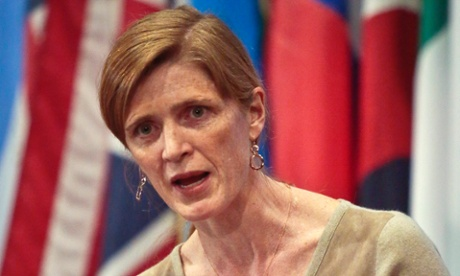 Samantha Power, US Ambassador to the UN, speaks during a news conference after a private UN Security Council meeting on the Ukraine.