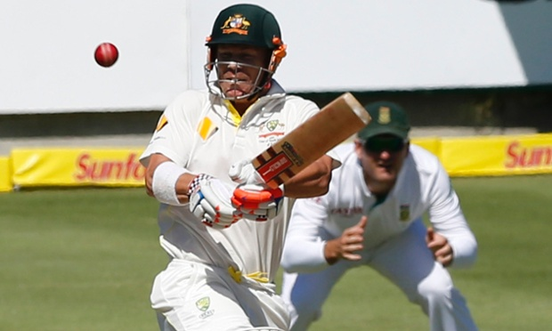 Australia's David Warner plays a shot on the first day of the final Test with South Africa.
