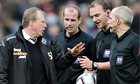 Steve McClaren talks to the referee, Robert Madley, at the end of Derby's 2-0 loss away to Burnley.