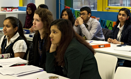 Teenagers at a maths lesson at the London Academy of Excellence in Stratford, east London.