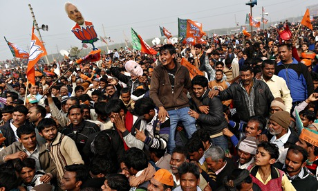 Supporters of Narendra Modi, the PM candidate for BJP, during a rally for the 2014 general elections