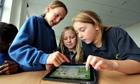 Pupils of years 5 and 6 of Ysgol Glannau Gwaun in Pembrokeshire using Apple iPads for school work