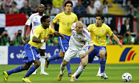 Zinedine Zidane against Brazil at the 2006 World Cup