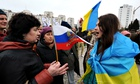 Pro-Russian and pro-Ukrainian activists