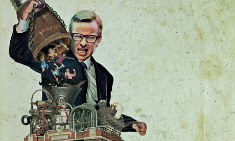 Steve Caplin illustration of Michael Gove and a machine making teachers