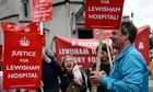 Protesters celebrate after the high court ruled government plans over Lewisham hospital were illegal
