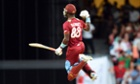 The West Indies captain, Darren Sammy, celebrates after he hit the winning runs against England in their second Twenty20 at the Kensington Oval in Bridgetown, Barbados.