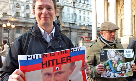 Demonstrators at a London protest against Russia's invasion of Ukraine