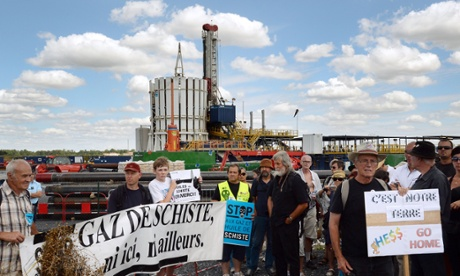 People demonstrating at La Petite Brosse, near Jouarre, outside Paris, to protest against an exploratory oil shale drilling, considering that it opens the door to the exploration of shale gas in the Parisian Basin.