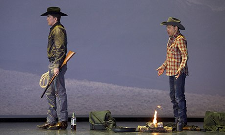 Tom Randle (right) and Daniel Okulitch perform Brokeback Mountain, the opera, in Madrid