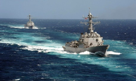The Arleigh Burke-class guided-missile destroyers USS Kidd and USS Pinckney are seen en transit in the Pacific Ocean in this US Navy picture taken May 2011.