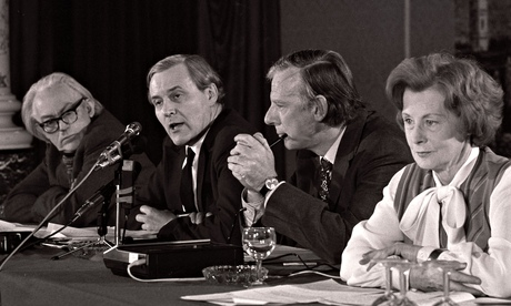Benn speaking at an anti-Common Market meeting with Michael Foot, Peter Shore and Barbara Castle, 19