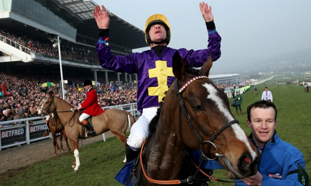 Davy Russell celebrates after Lord Windermere won the Cheltenham Gold Cup.