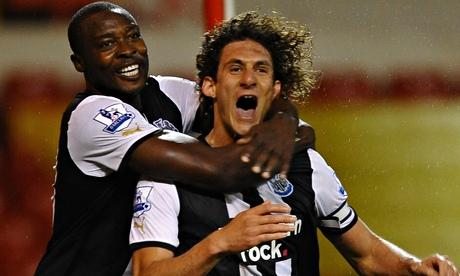 Fabricio Coloccini celebrates scoring for Newcastle