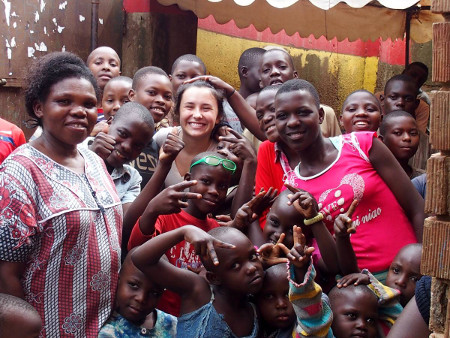 Spending time with friends in Uganda (courtesy of L. Vallez)