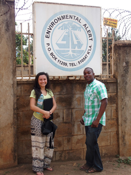 Ms. Vallez and Mr. Bazalirwa at Environment Alert, Uganda