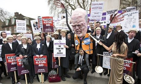 Cuts to legal aid have been the subject of nationwide protests by barristers. Photograph: Graeme Robertson for the Guardian