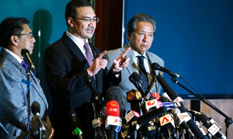 Malaysia's acting Transport Minister Hishammuddin Hussein speaks during a news conference about the missing Malaysia Airlines flight MH370, at Kuala Lumpur International Airport.  Also pictured are Malaysia Airlines Chief Executive Officer Ahmad Jauhari Yahya  and Malaysia's Foreign Minister Anifah Aman.