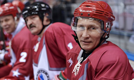Vladimir Putin plays ice hockey in Sochi