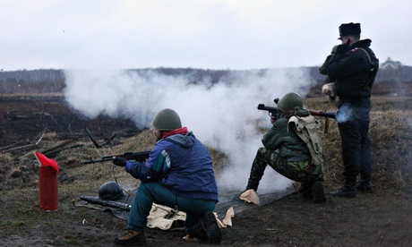 Ukrainian recruits firing practice