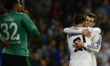 Alvaro Morata is congratulated by Gareth Bale after scoring Real Madrid's third goal against Schalke.