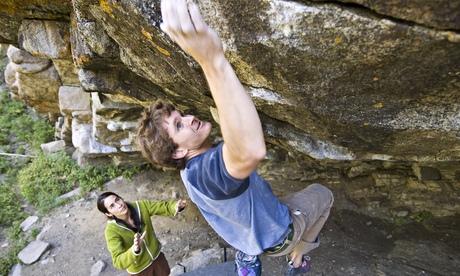 Mentor rock climbing