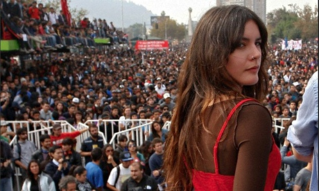 Chilean student leader Camila Vallejo during a protest in Santiago, Chile in April 2012. Photograph: Marcelo Hernandez/dpa/Corbis