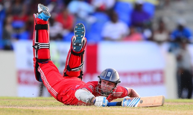 England's captain Stuart Broad dives to safety during the second One Day International against West Indies in Antigua.