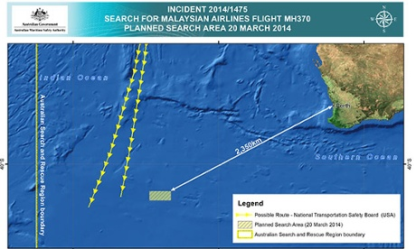 Australian government map of the area being searched for wreckage from flight MH370