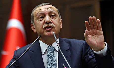 Recep Tayyip Erdogan talking to a crowd