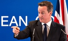 British prime minister David Cameron at an EU summit in Brussels on the Crimea crisi