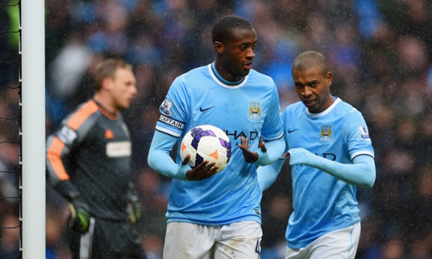 Manchester City's hat-trick scorer, Yaya Touré, celebrates his and their second goal against Fulham.