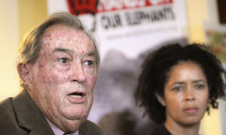 Richard Leakey and Paula Kahumbu at press conference organised by Wildlife Direct on March 19, 2014 in Nairobi.