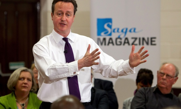 David Cameron speaks to an audience during a PM Direct event at the Meridian Community Centre in Peacehaven, Sussex.